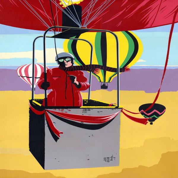 Man Ballooning Retro Pop Art - Square Format Art