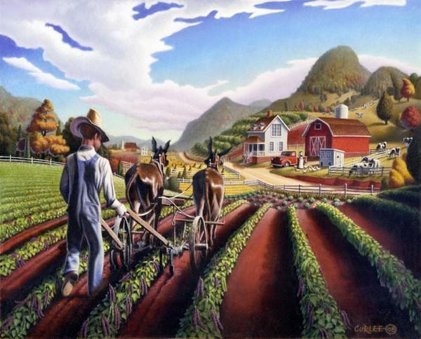 Cultivating Peas Farm Americana Folk Art Landscape
