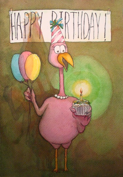 Flamingo Line:  Happy Birthday Candle Light