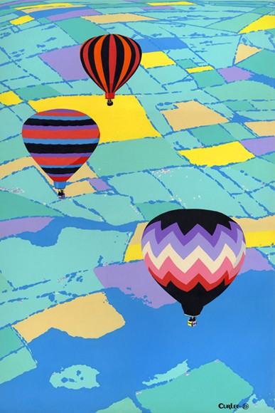 Three Hot Air Balloons Acrylic Painting