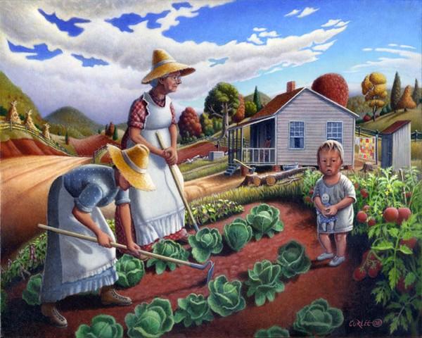 Family Garden Life Folk art Americana landcape