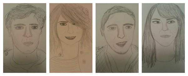 Sketch of Brian, Dani, Dan and Emily
