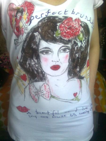 Brunette tshirt design self portrait