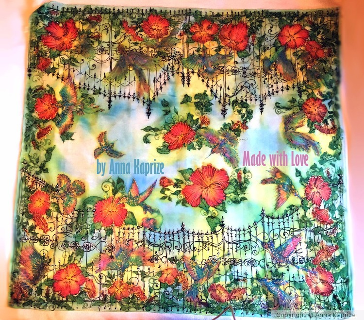 Silk Batik Scarf Birds Colibri, garden, exotic,