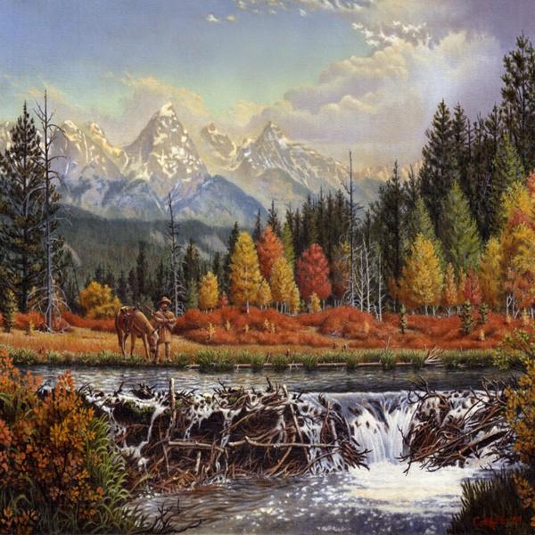 Mountain Man Trapper Beaver Dam - Square Format