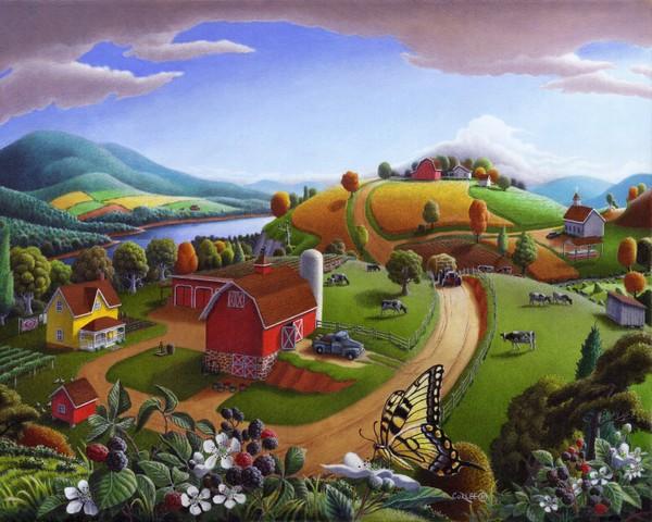 Blackberry Patch Rural Country Farm Landscape