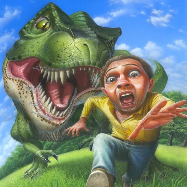 Tyrannosaurus Rex Chasing - Square Format