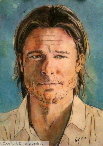 PMP Celebrity Challenge:Brad Pitt in watercolor