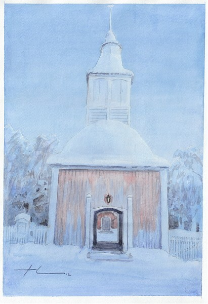 arctic church watercolor mike theuer
