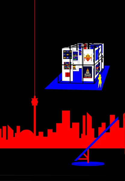 Cube in Toronto with Toronto Skyline and the Floating Sculpture T in Lake Ontario