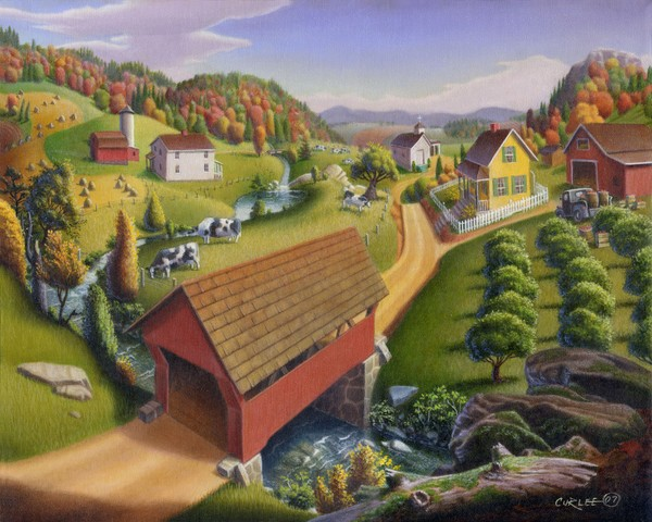 Covered Bridge Farm Folk Art Landscape Americana