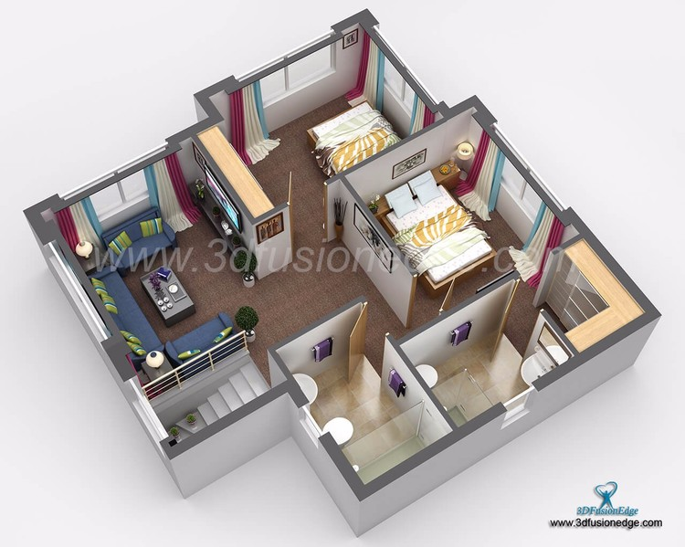 Small House 3D Floor Plan Rendering Services