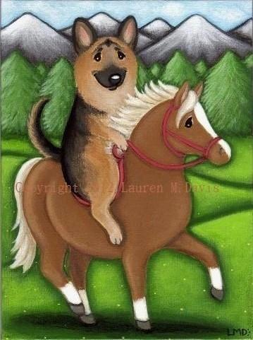 German Shepherd Dog Pony Painting Lauren M. Davis