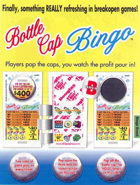 Bottle Cap Bingo game & ad