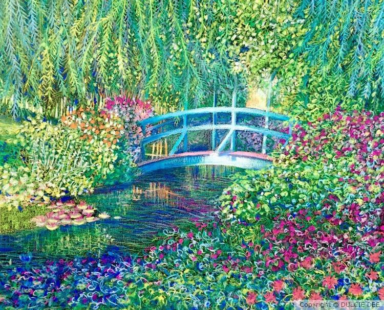 Le pont Japonasie a Giverny dans le jardin de Mone