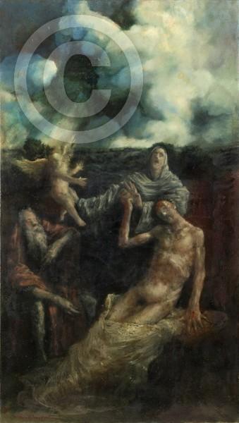 Todmüde 45x80 oil on canvas