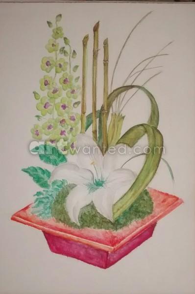 Lily bamboo arrangement