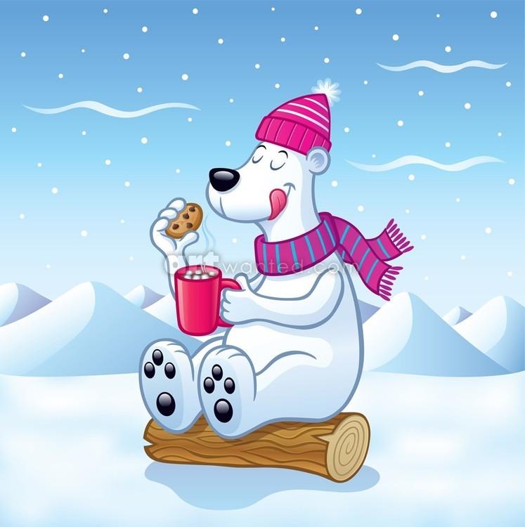 Polar Bear with Hot Cocoa