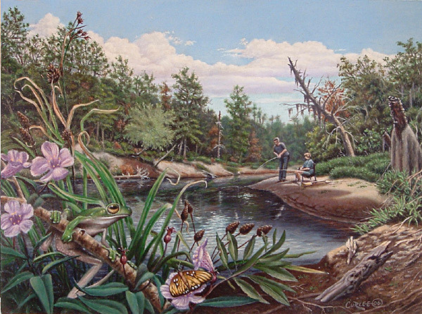 Fishing on Uchee Creek Oil Painting Art