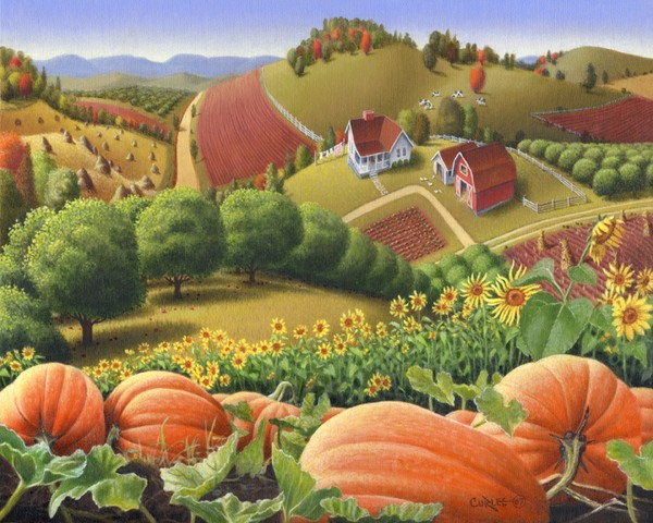 Pumpkin Patch Americana Farm Landscape Folk Art