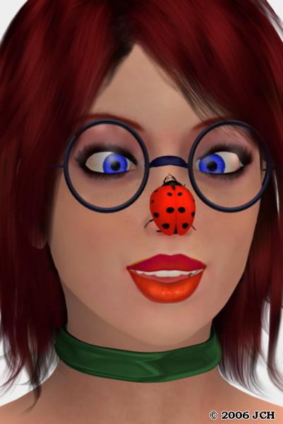 Tabby Portrait with a Ladybug