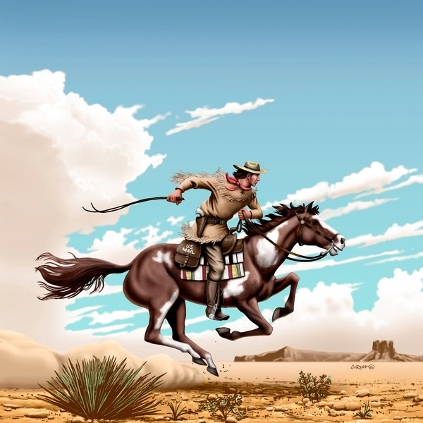 Pony Express Rider - Square Format