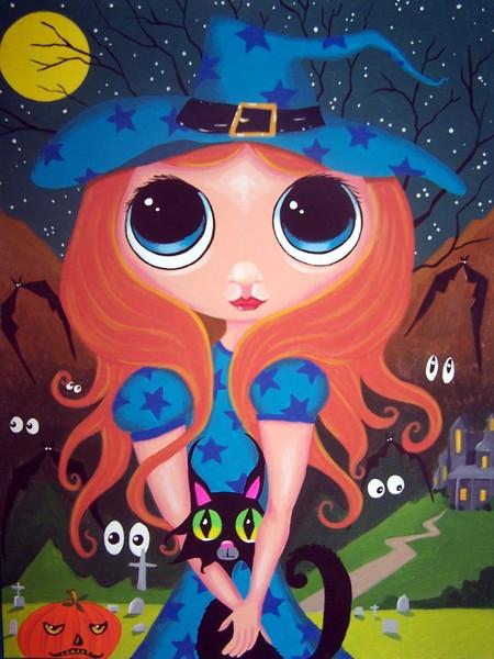 Halloween painting Big Eye cat original trick or t