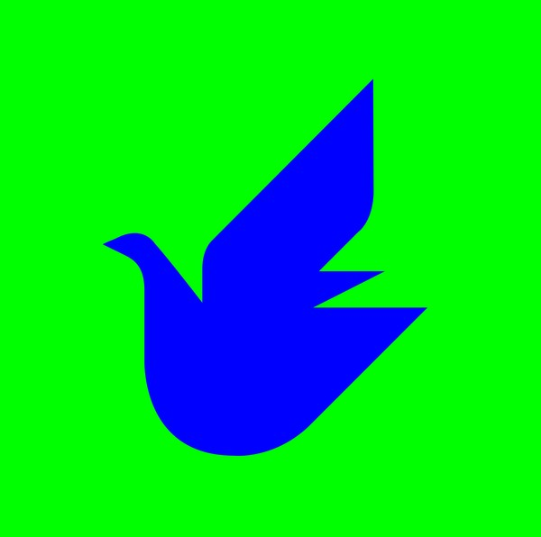 Dove of Peace blue on green made for UNICEF