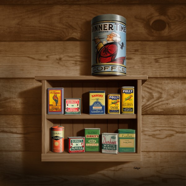 Vintage Spice Cans Tins - Square Format