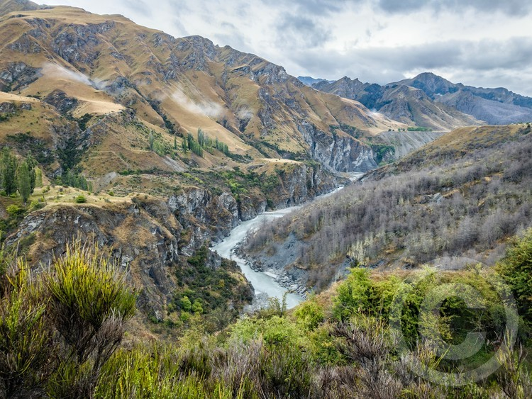 A scenic view down Shotover River in New Zealand
