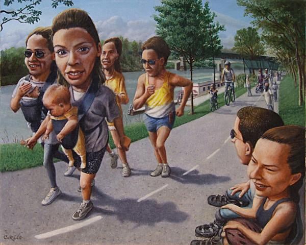 A Walk Along The Riverwalk Oil Painting Art