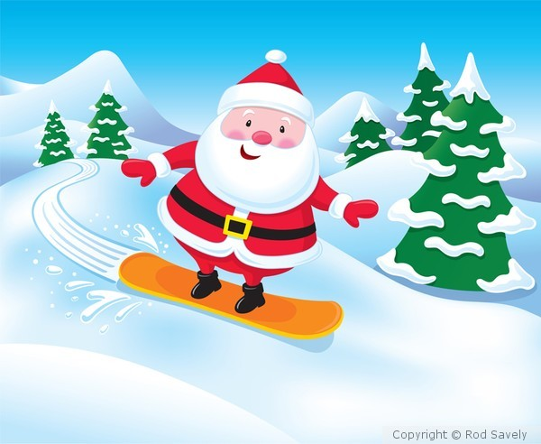 Snowboarding Santa Claus