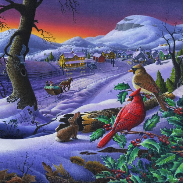 Small Town Winter Cardinals - Square Format