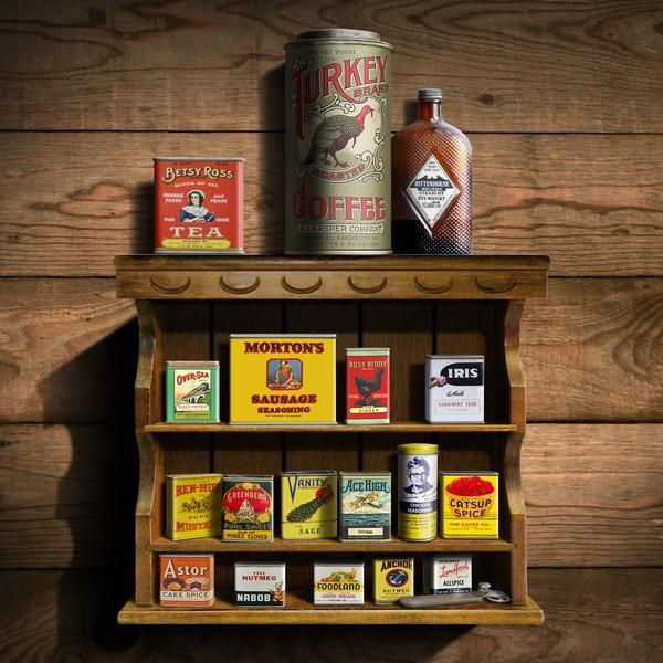 Vintage Spice Rack & Tins - Square Format