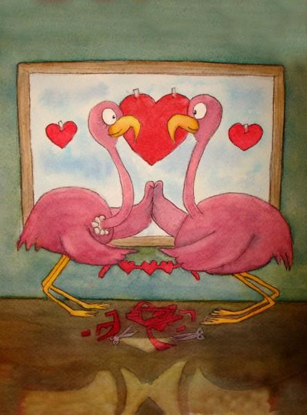 Flamingo Line:  Flamingos Decorating Together