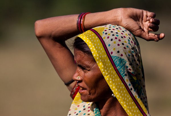 Village woman, Thol bird sanctuary, Gujarat, India
