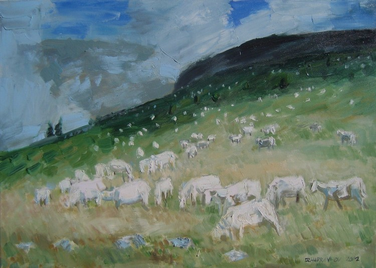 'ON THE TOP OF A MOUNTAIN'  2012.  Oil on canvas,
