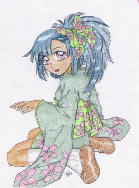 My coloin: girl in mini kimono