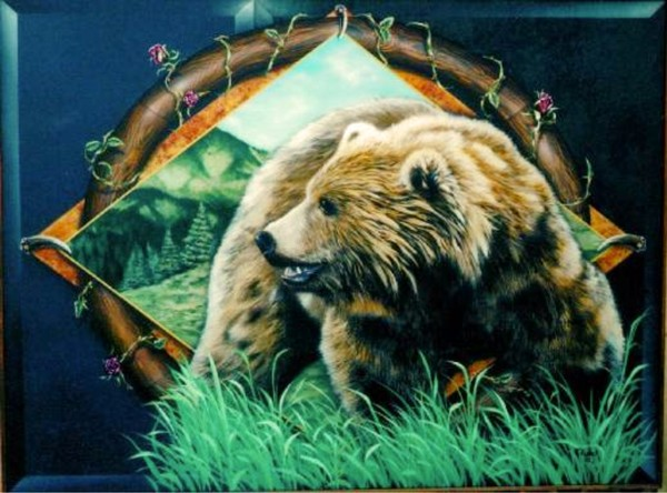 Grizzly Bear Panel with Elements