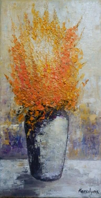 Vase with orange flowers