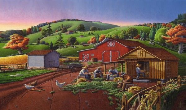 Farmers Shucking Corn Landscape - Phone Case Art