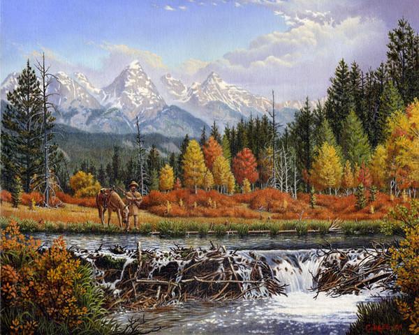 Mountain Man, Beaver Dam Landscape Oil Painting