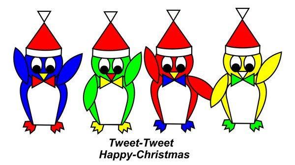4 Pixy Penguins wish you a Happy Christmas