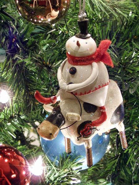 Cow Riding Snowman