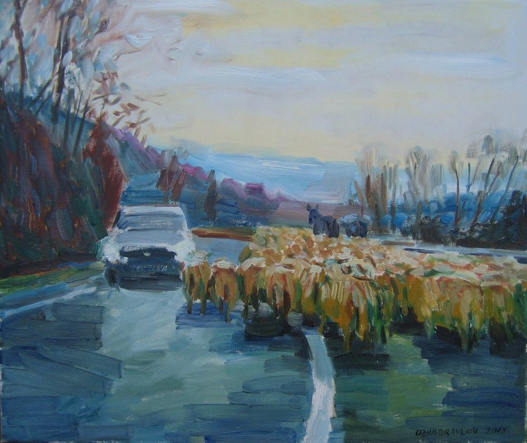 'SHEEP ON THE ROAD'  2013. Oil on canvas, 60x50cm.