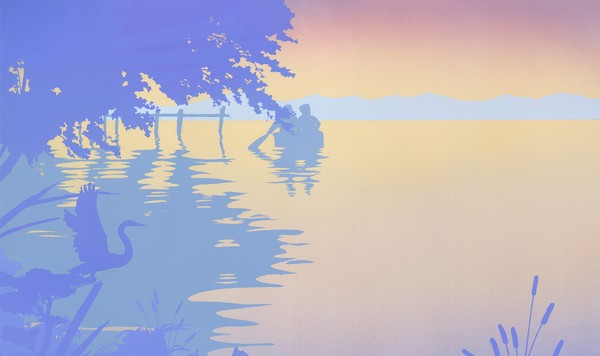Abstract Boat Dock Sunset - Phone Case Art
