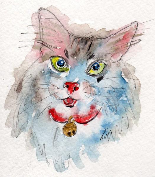Watercolor cat portrait