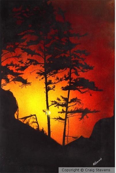 Mountain Tree at Sunset