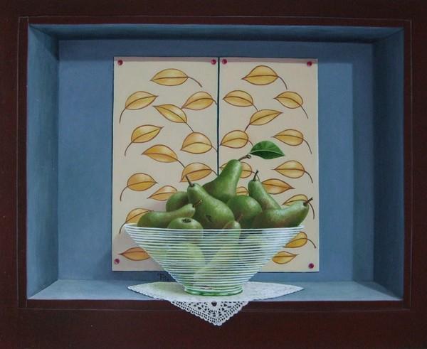 Stilleven met peren en glazen schaal