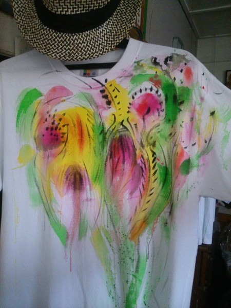 hand painted t shirt, flowers series no2